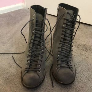 Jeffery Campbell Gray Lace Up Granny boot
